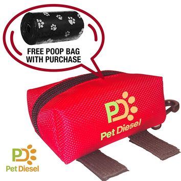 Dog Poop Bag Holder + Roll Of Poo Bags | Durable Dog Waste Pickups Bag For Your Pet | Heavy Duty, Leak Proof & Non-See Through Holder | Daily Walks & Travel | Zippered Pouch w/ Carabiner Hook