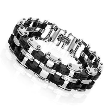 MEN STAINLESS STEEL AND SILICONE BRACELET