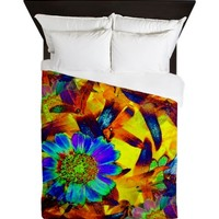 Abstract Colorful Floral Rainbow Queen Duvet