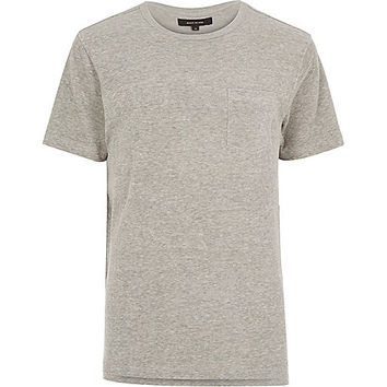 River Island MensGrey towelling stepped hem t-shirt