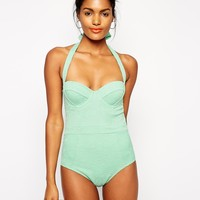 ASOS Embossed Floral Cupped Swimsuit