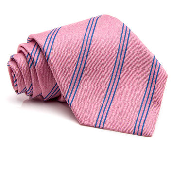 Kiton Pink with Blue Stripe Tie