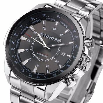 Winner Men's Mechanical Automatic Watch Stainless Steel Strap Supersize Case Date Calendar Business NEW Noble Fashion