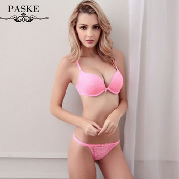 Free Shipping! New 2016 sexy lace flower bra & brief sets vs push up bra and transparent panties BS136