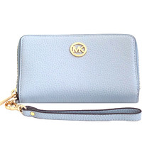 Michael Kors Fulton Large Flat Multi Function Leather Phone Case Pale Blue