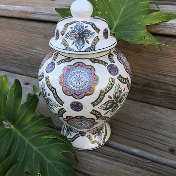 Pink and Purple Floral Ginger Jar Ceramic Lidded Asian Style Jar With Flowers Hearts and Geometric Designs Vintage Kitchen Storage Decor