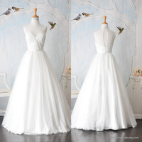 August-Country Bride-Custom A-line full length BOAT sweetheart Wedding Dress Gown inspired by 1950s vintage style