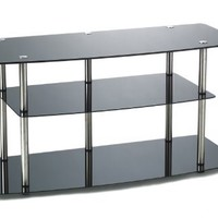 Convenience Concepts Designs2Go Classic Black Glass TV Stand for Flat Panel TV's up to 46-Inch or 80-Pounds