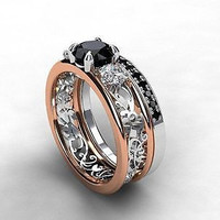 AMAZING 1.02CT BLACK ROUND STUD 925 STERLING SILVER ENGAGEMENT AND WEDDING RING