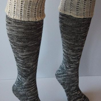Black Combo Knee High Marbled Knit Boot Sock with Pointelle Cuff
