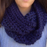 Navy Infinity Scarf, Blue Infinity Scarf, Navy Blue Scarf, Autumn Scarf, Chunky Scarf, Cowl Scarf, Fashion Scarf, Hand Crochet, Gift for her