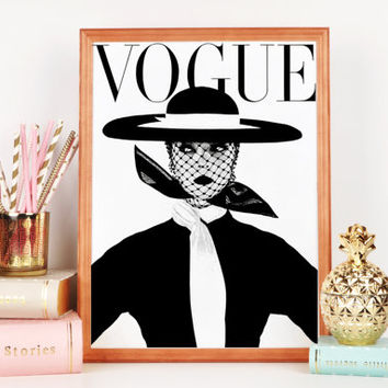 PRINTABLE ART Fashion Art Vogue Cover Girls Art Fashion Wall Art Vogue Print Vogue Magazine Fashion Girl Vogue Wall Art Girls Room Art