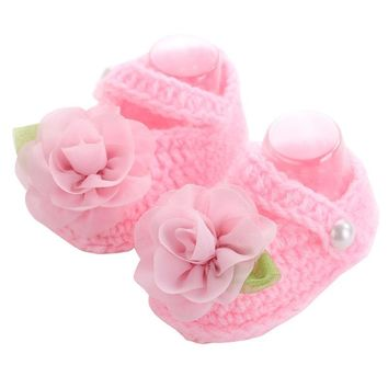 Brand Baby Shoes Handmade First Walker ,Baby Knitted Shoes Girls Crochet,Sapatos Infantis Meninas,Flower Baby Slippers Shoe,
