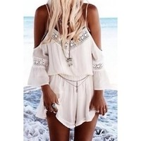 Stylish Spaghetti Strap 3/4 Sleeve Solid Color Spliced Romper | Kitty's Clawset