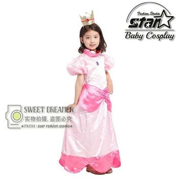 Super Mario party nes switch Halloween Costume  Princess Daisy Maxi Dress Peach Princess Cosplay Ball Gown Children Girls Birthday Gift AT_80_8