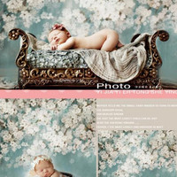 150cm*200cm(5*6.5ft) photographic background White flowers bloom in spring newborn photography background S-102