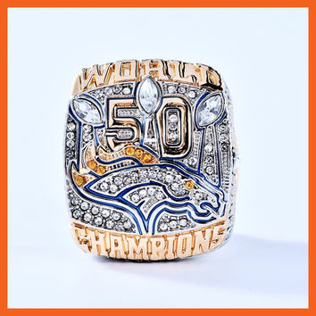 OFFICIAL VERSION 2015 DENVER BRONCOS SUPER BOWL 50 WORLD MANNING SCORES ENGRAVED CHAMPIONSHIP RING