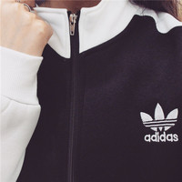 Adidas: fleece female long sleeve cardigan han edition student leisure autumn wear thin zipper loose harajuku BF wind coat wet