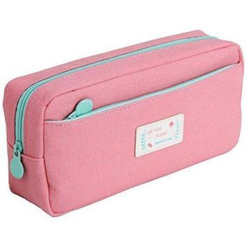 DCCKV2S Samaz Large Capacity Canvas Pen Pencil Case Stationery Pouch Bag Case Cosmetic Bags (Pink)