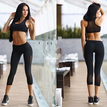 Sports Suit Women Yoga Set Outdoor Fitness Mesh Bra Running Cropped Top Capri Pants Suit Leggins Black Woman Tights Outfits