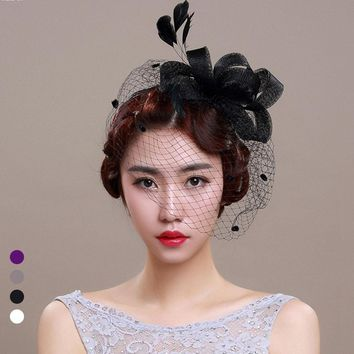 Beautiful Birdcage Flower Feathers Fascinator With Veils