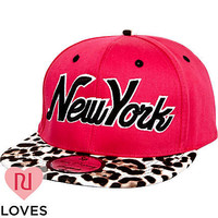 Girls pink leopard New York trucker hat - hats - accessories - girls