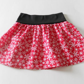 Red Christmas Toddler Skirt With Fold Over Waist, Little Girls Skirt, Christmas Skirt Toddler, Twirl Skirt Toddler, Flounce Skirt Toddler