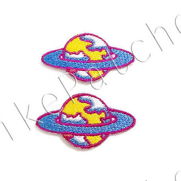 Set 2pcs. Blue Galaxy, World, Earth New Sew / Iron On Patch #no.1 Embroidered Applique Size 4.1cm.x2.2cm.