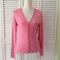 NEW Eileen Fisher Stretchy Knit Button Cardigan In Pink (Size Small)