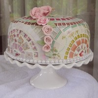 Handmade Mosaic Cake Dome Server cover w pedestal cake stand shabby cottage chic on Handmade Artists' Shop