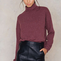Ribbed Knit High Neck Sweater