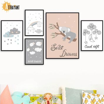 Koala Sheep Panda Moon Rainbow Star Quotes Wall Art Canvas Painting Nordic Posters And Prints Wall Pictures Baby Kids Room Decor