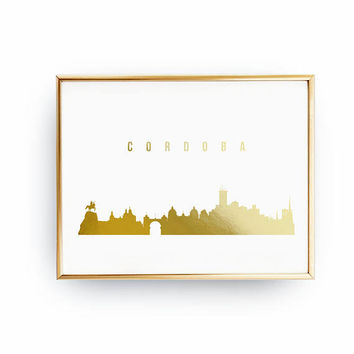 Cordoba Skyline, Cordoba Print, Real Gold Foil Print, Office Decor, Illustration Art Print, Office Art, Spain Art, Spain Cityscape, Gold Art