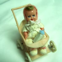 Vintage Celluloid Baby in a Stroller  Toy Furniture