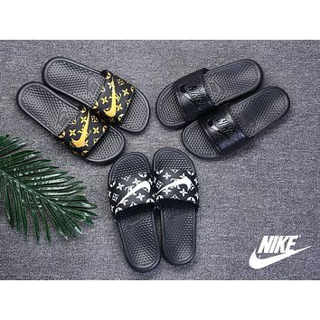 Nike Benassi Print X LV LouisVuitton Summer Fashion Sandal Slippers