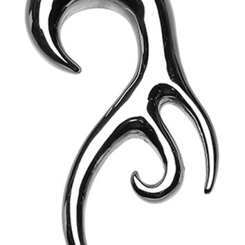 Tribal Fang Swirl Hook 316L Surgical Steel Ear Gauge Hanging Taper
