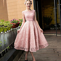 Elegant Tea-Length 2017 New Sexy Lovely Pink Beaded Lace Appliques Women Special occasion Cocktail Party Dress robe de cocktail