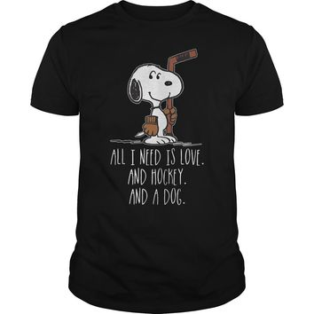 Snoopy all I need is love and hockey and a dog shirt Premium Fitted Guys Tee