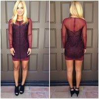Adrienne Sheer & Lace Dress - BURGUNDY