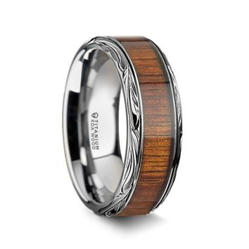 Exotic Koa Wood Inlay Titanium Ring, Carved Edges