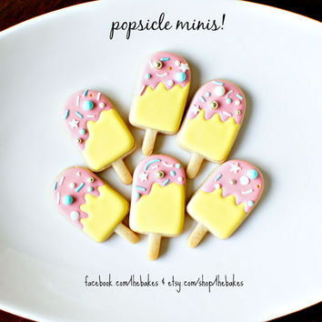 Mini Popsicle Shaped Sugar Cookies - 1 Dozen