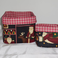 Set of 2 Fabric Baskets With Santa-1 Large, 1 Small