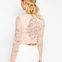 ASOS Crop Top In Lace With Baby Rib