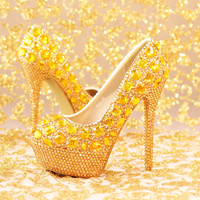 Gold Sparkly Wedding Shoes Platform Stiletto Shoes