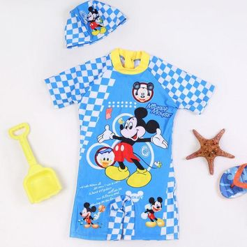 DCCKHG7 Cute Kids Cartoon One piece Swimwear Boy Swimsuit Children Bathing Suits Toddler Clothing+Hat Swimming Suit for 3-10 Years Old