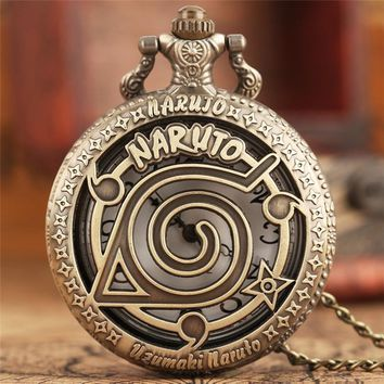 Popluar Japanese Comic Pocket Watch Classic Hollow NARUTO Pattern Pendant Necklace Cool Teen Clock Unique Children Gifts Relogio