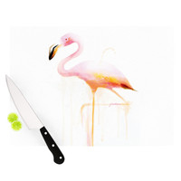 "Geordanna Cordero-Fields ""My Flamingo"" Pink White Cutting Board"