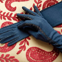 Empire Made 1930's Gloves - Dark Blue Cotton Gloves - Size 7 Vintage Gloves - Dress Gloves - Long Evening Gloves - Edged In Crochet Lace