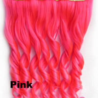 Pink Ombre Colorful Candy 5 Clip in Hair Extensions 1Weft=5pcs Body Wave Texture Hair Synthetic Hair Extension High Quality Wig