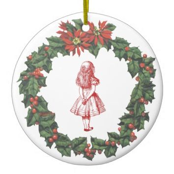 Alice in Wonderland Wreath Christmas Ornament